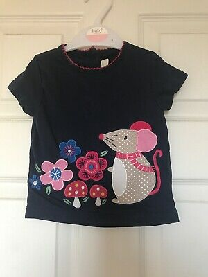 Jojo Maman Bebe Navy Blue And Pink Mouse Tshirt 6-12 Months