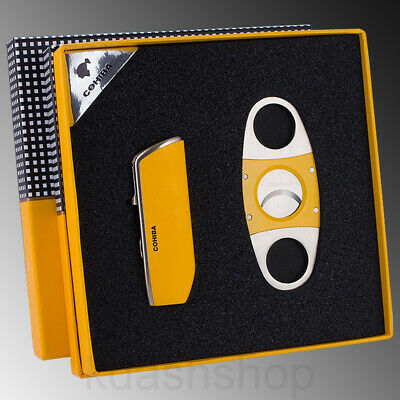 COHIBA Metal Yellow 3 Torch Jet Flame Refillable Cigar Lighter Cutter Set