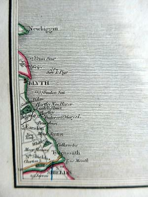 NORTHUMBERLAND  BLYTH  SOUTH SHIELDS  BY JOHN CARY GENUINE ANTIQUE MAP  c1824