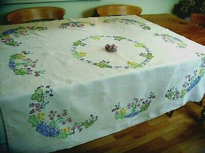 Exquisite Vintage Large Hand Embroidered Tablecloth ~ Spring Garden Flowers