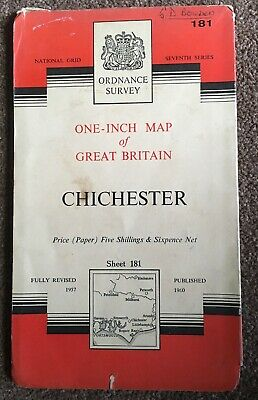 Vintage Ordnance Survey Map Chichester 1960 Paper  edition - Sheet 181