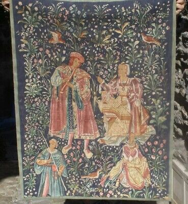 Vintage tapestry Medieval scene , wall hanging .