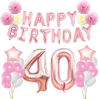 KUNGYO 40th Birthday Decorations Kit Rose Gold Happy Banner Giant 40