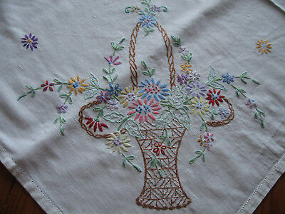 Pretty Hand Embroidered Ivory Linen Tablecloth.Flower Basket to Corners.Lovely!