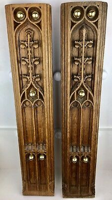 Antique English Oak Wall Display Panels Pair Early Example (early 19th Century)