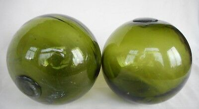 Pair Of Vintage Green Glass Fishing Floats - Fg Glass Works ?