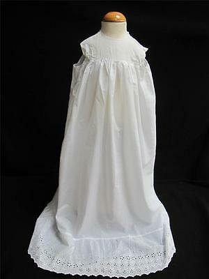 Antique Victorian Babys Cotton Embroidered Whitework Petticoat c1890