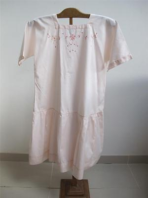 Vintage Original 1920s Pink Drop Waist Girls Dress - Floral Embroidered Detail
