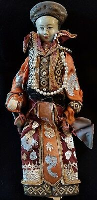 Antique Hand Made & Painted Asian Hand Puppet Doll Ornate Costume Beautiful Face