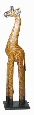 "Hand Carved 23"" African Giraffe Wood Sculpture Statue Jungle Tropical Home Deco"