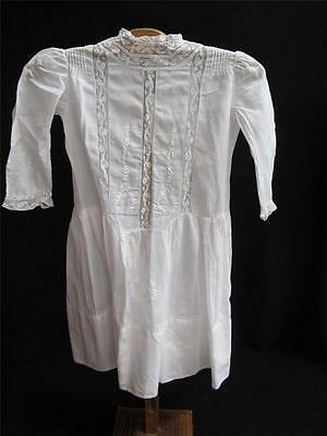 Antique Edwardian Embroidered & Velenciennes Lace Drop Waist Girls Dress c1910