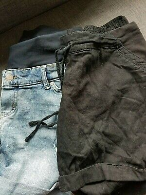 2 Pairs Of Maternity Shorts. Denim h and m Size 12, Black Size Next 12