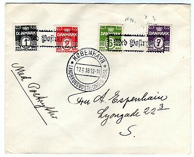 Denmark cover with canc. Med Postritter 1938