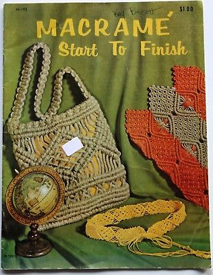 Vintage Macrame Planters Wall Hangings Bags Pillow Patterns Book See pics
