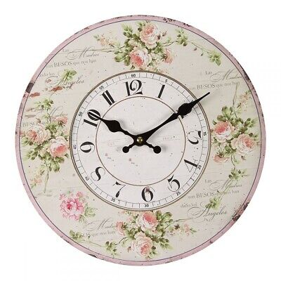 G1137: Fantastic Country House Wall Clock with Rose Blossoms and Rose Tendrils