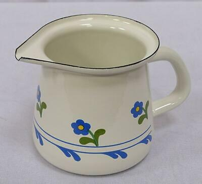 G1690: Cream Jug without Cover, Milk Jug, Enamel, Cream Flowers