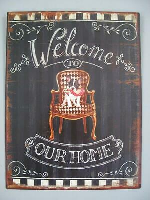 Metal Sign,Advertisement Sign, Welcome to Our Home, Pubs Wall Sign 13x9 13/16in