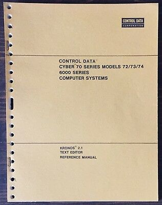 Control Data Corporation CDC Cyber 70 Kronos Text Editor Reference Manual 1973