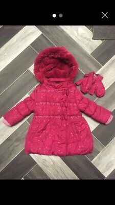 Baby Girls Thick Pink Winter Coat Padded With Gloves 12-18 M