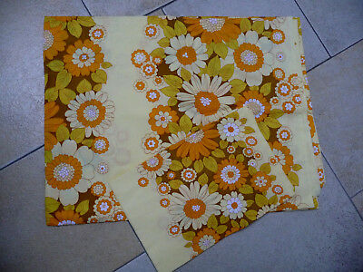 70er Bettwäsche Garnitur Flower Power gelb orange grün Prilblumen 140x200 neu?