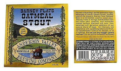 Anderson Valley Brewing BARNEY FLATS OATMEAL STOUT beer label CA 12oz Var. #1