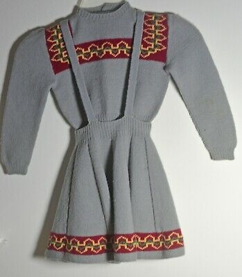 Vintage Hand Knit Girl's Wool Sweater & Skirt Outfit Uu306