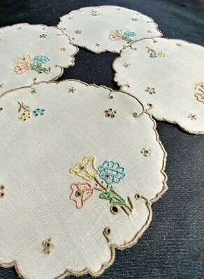 4 Vintage Colorful Madeira Hand Embroidered Cocktail Napkins Round Flowers (#13)