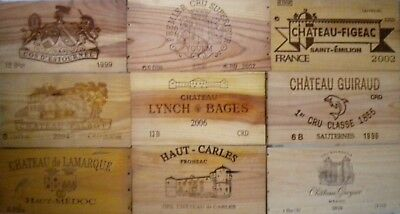 Lot De 9 Facades / Estampe Bois :  Cos D'estournel Yquem Figeac Lynch Bages ...