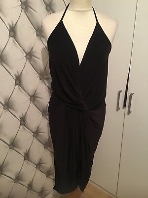 84f84e51 BOOHOO GORGEOUS SEXY Black Plunge Dress Gold Belt and Side Slit ...