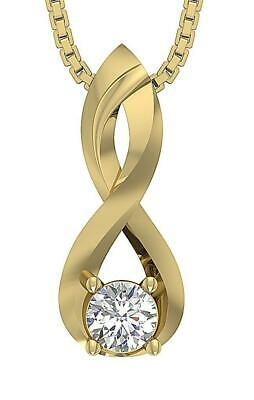Solitaire Pendant SI1 G 0.30 Ct Natural Round Cut Diamond 14K White Yellow Gold