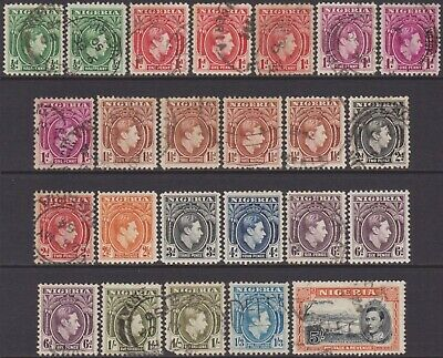 19 Different Nigeria KGVI 1938-51 Definitive 1/2d-5s MNH, MH & Used Stamps