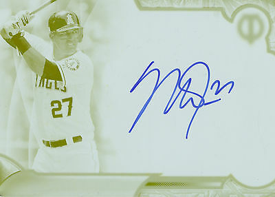 Mike Trout 2016 Topps Tribute Autograph Print Plate Yellow 1/1 Auto! Free Ship!
