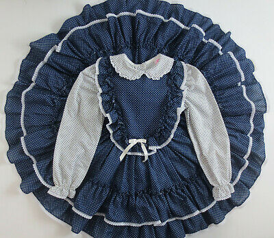 Vintage Dress Miss Quality Size 6 Long Sleeve Blue Polka Dot Ruffle Lace Party