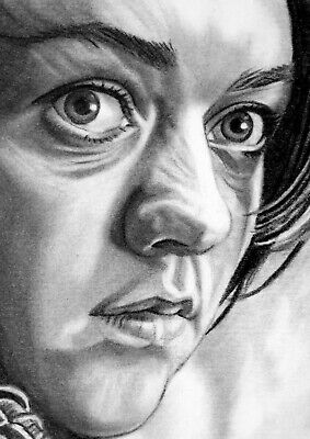 ORIGINAL ACEO sketch card GAME OF THRONES Maisie Williams ARYA STARK