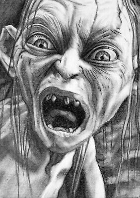 ORIGINAL ACEO sketch card LORD OF THE RINGS - GOLLUM