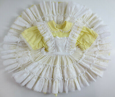 Vintage Dress Mini World Size 4T Short Sleeve Yellow Ruffle Lace Party Circle