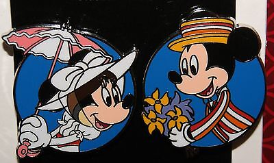 Disney Minnie Mickey as Mary Poppins & Bert  2 Pin Set  New 2015 Release on Card