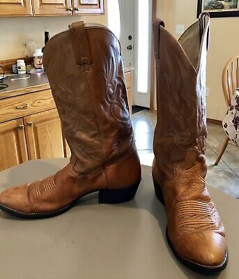 a31a18474ec J. CHISHOLM English Tan Leather Cowboy Western Boots Mens 13 D #919 Lt Brown