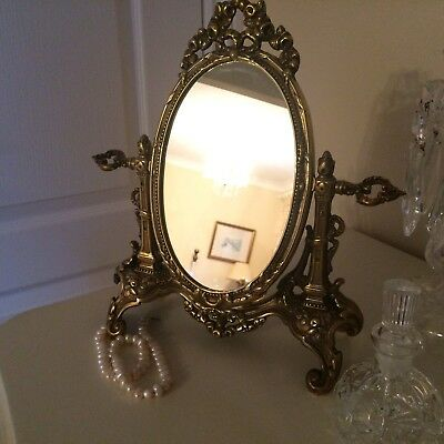 Vintage Gorgeous  French Ornate Brass Table Top Swivel Mirror