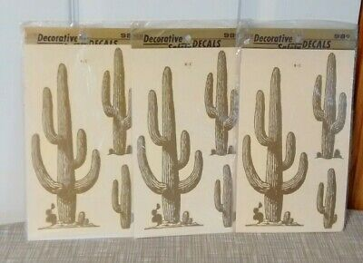 3 Vintage Meyercord Cactus Decorative & Safety Decal~Look The Same~Both Sides