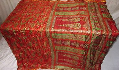 Orange Pure Silk 4 yard Vintage Sari Material Made In India Home Steal NR #A0WNY