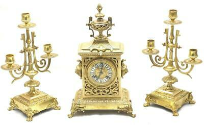 Antique French Stunning mantle Clock Pierced Gilt Bronze 8 Day Garniture Set
