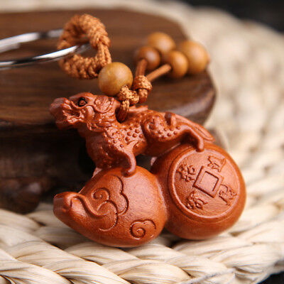 Wood 3D Carving Chinese Pixiu Calabash Wealth Statue Pendant Key Chain Keyring