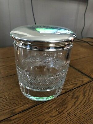 Large American Brilliant Cut Glass Tobacco Humidor ~ Gorham Sterling Silver Lid