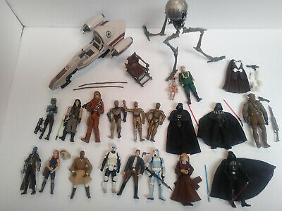 Star Wars  Lot of Figures Weapons Vechicles 40pcs