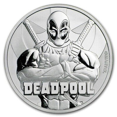 2018 $1 Tuvalu 1 oz .999 Silver Marvel Series Deadpool BU