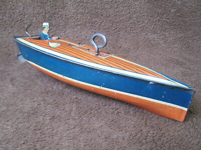 1930's Lindstrom Tin Litho Wind-Up Speed Boat
