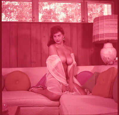 1950s Bunny Yeager Camera Transparency JACKIE MILLER Irving Klaw Model Topless