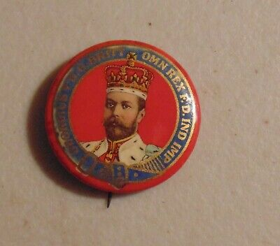 King George V royalty Britain British monarch advertising pin button