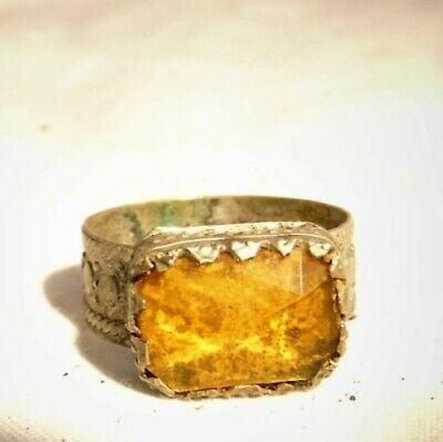 Antique Silver Ring With Amber Stone